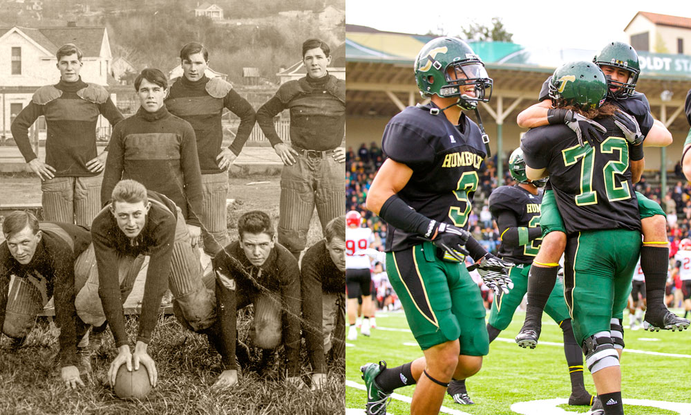 <strong>Football</strong><br />  Athletics have been a part of Humboldt State's offerings since the 1920s.<br />  When football got its start, nearly every man on campus was pressed into service for the team. The first intercollegiate match was held against Southern Oregon Normal School in 1927. Today, the team is a regular contender for the Greater Northwest Athletic Conference championship title.