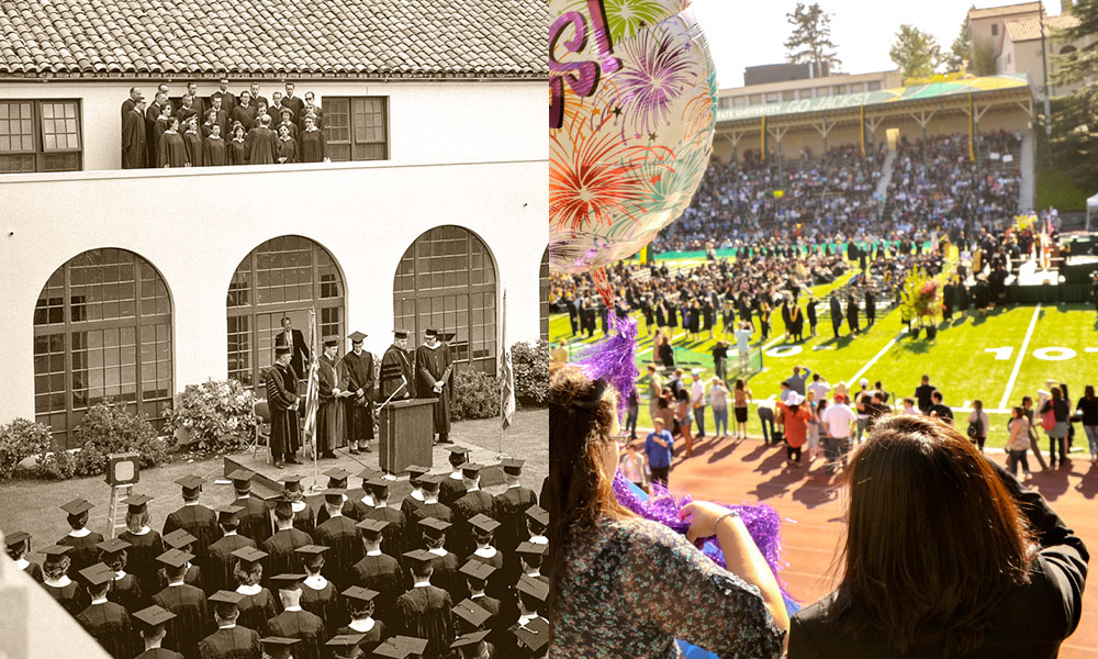 <strong>Graduation</strong><br />  The first Humboldt State Normal School graduations took place at Arcata's Minor Theatre. Later ceremonies took place in the Founders Hall courtyard. Today, Redwood Bowl hosts graduates and guests at three commencement ceremonies every spring.