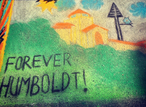 Forever Humboldt Pastel Art from the event - Founders hall with a tree and green bushes