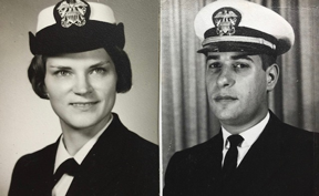 black and white photo of Diana and Michael Berman during their younger days in the service